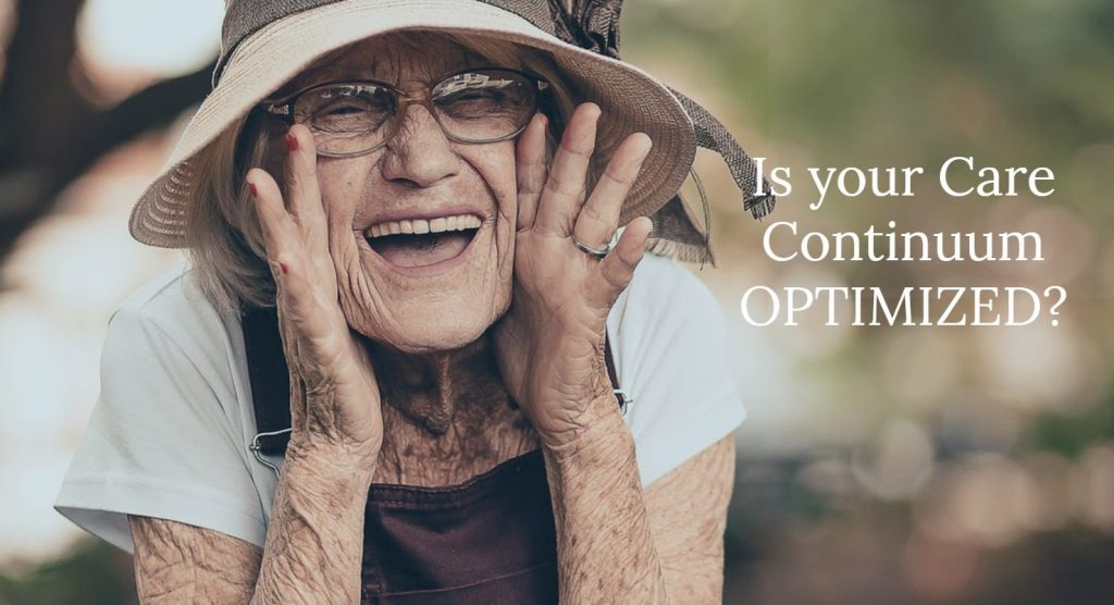 Happy older woman. Text: Is your care continuum optimized?